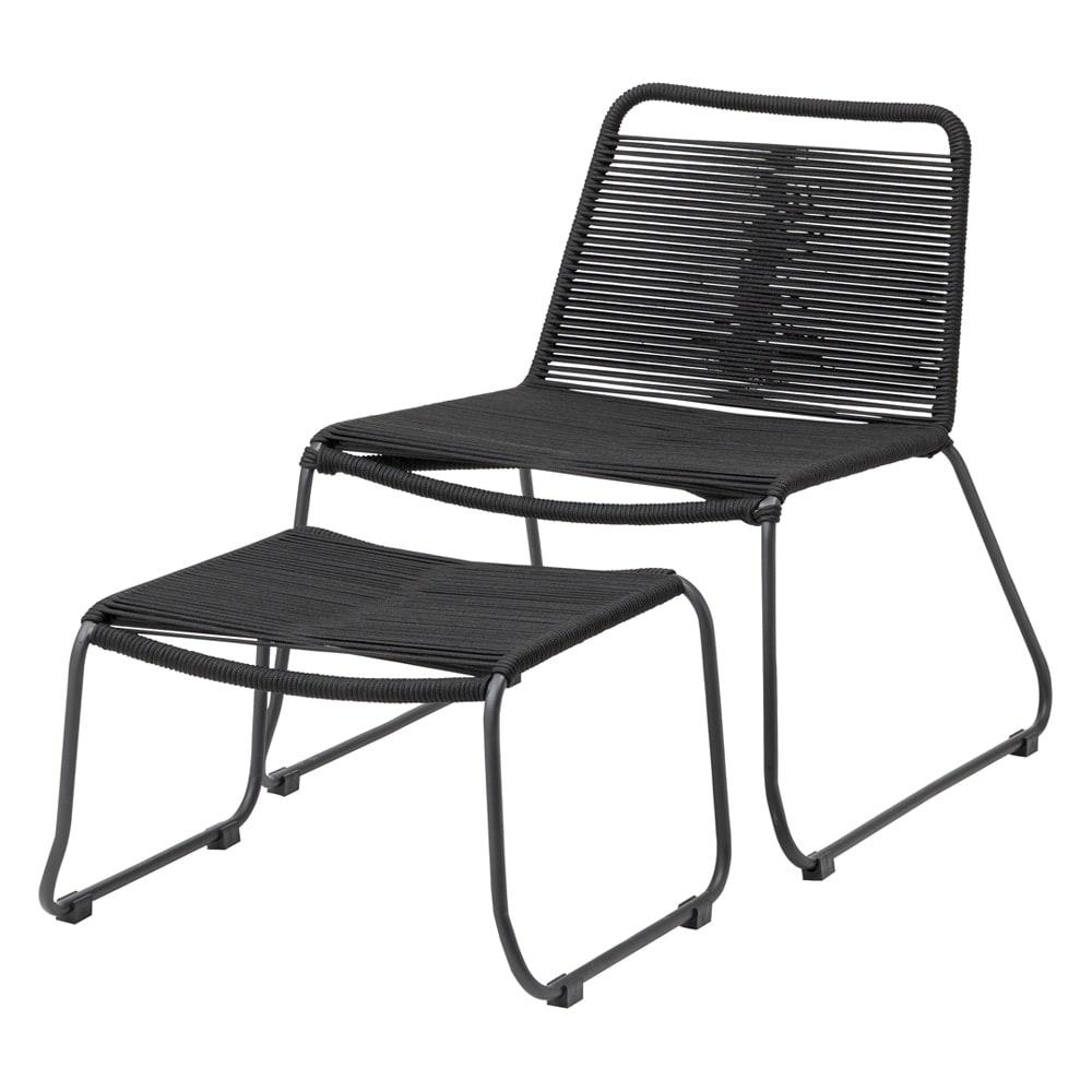 ロープチェアオットマンセット&サイドテーブル ロープチェア&オットマン ガーデンチェア・ベンチ