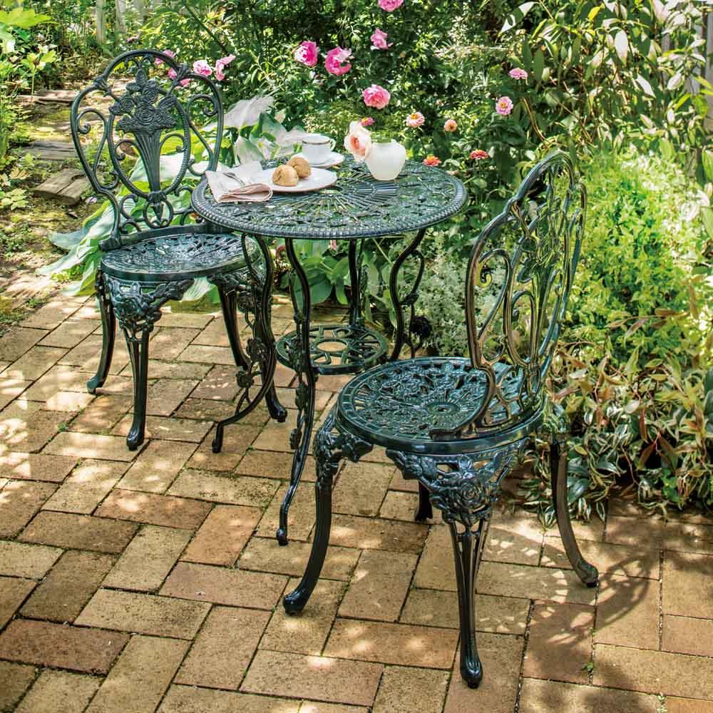 英国風ローズテーブル&チェア3点セット テーブル&チェア2脚の3点セットでのお届けです。