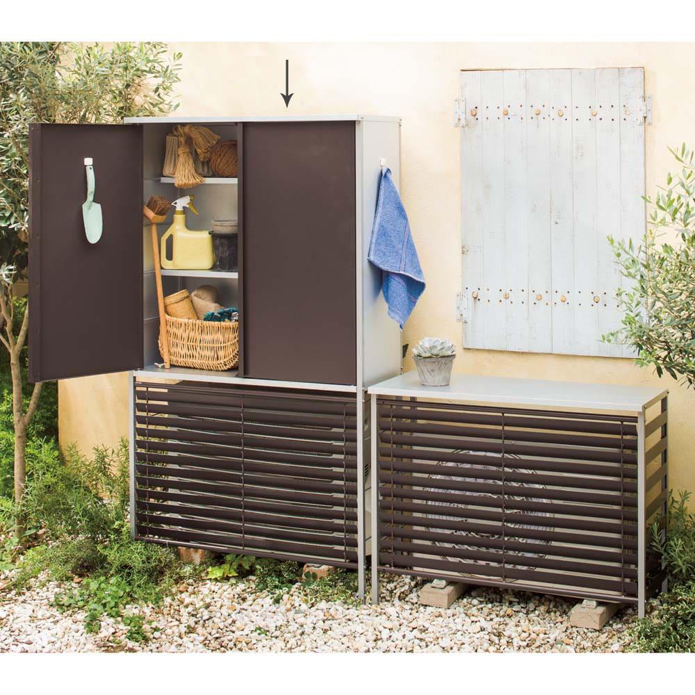 ガルバ製逆ルーバー室外機カバー 収納庫付き ハイ (ア)ダークブラウン ※お届けは写真左「ハイタイプ」です。