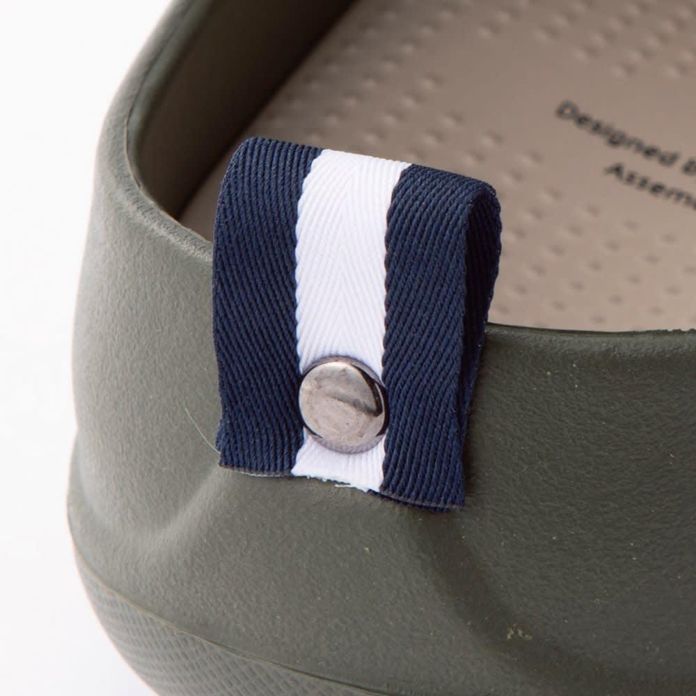 ベランダサンダル 色が選べる2足組 クローズドソール かかとにあしらったポイントタグのデザインがオシャレの1つになります。 ※写真は(オ)ベージュ(カ)カーキのデザインです。