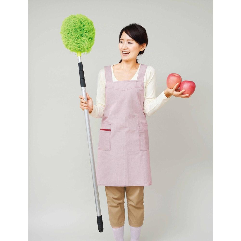 ぐーんと伸びる!なのに軽い!2WAYロングモップ 重さは約リンゴ2個分。