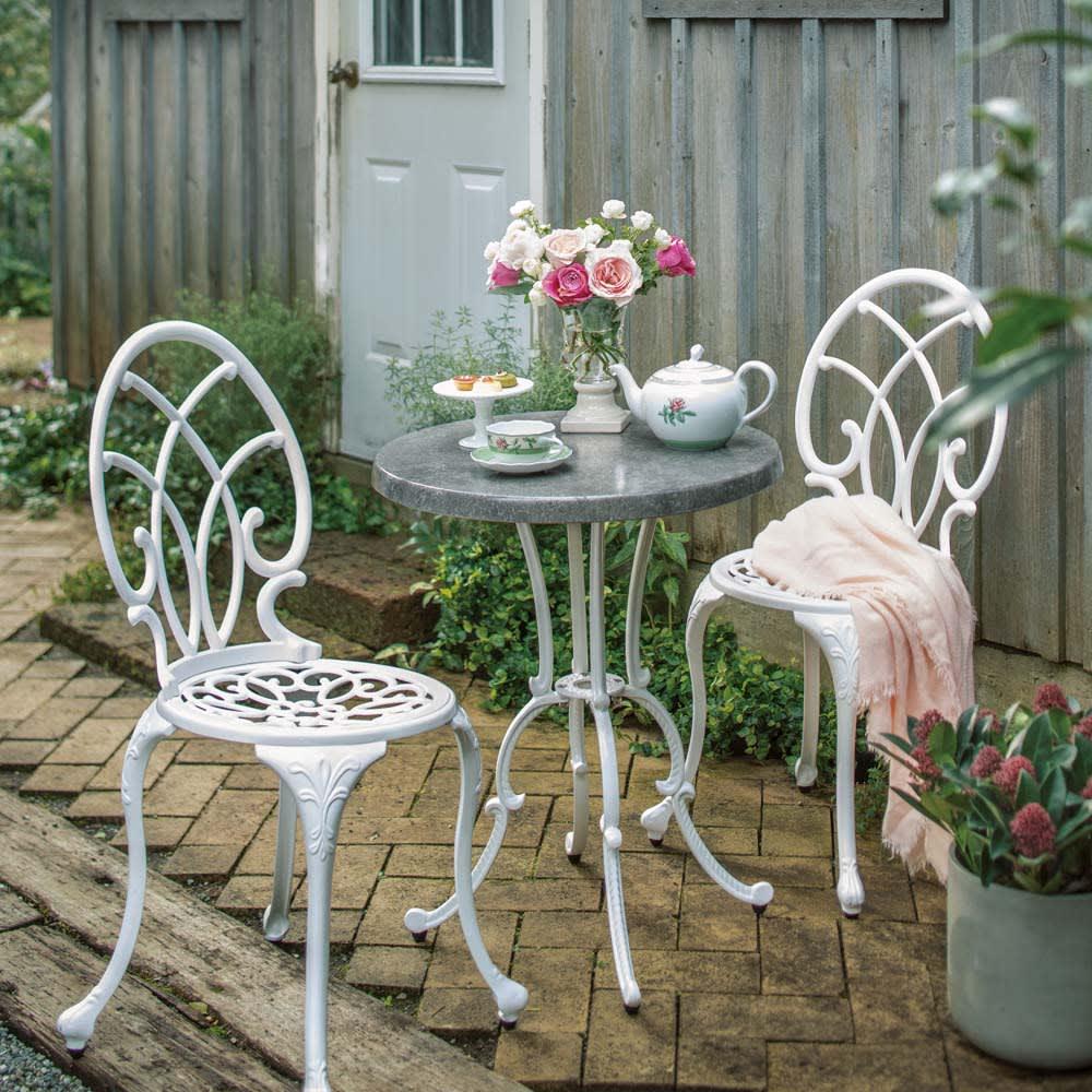 大理石調コンパクトテーブル&チェア 3点セット ホワイト/ブラック ガーデンファニチャーセット