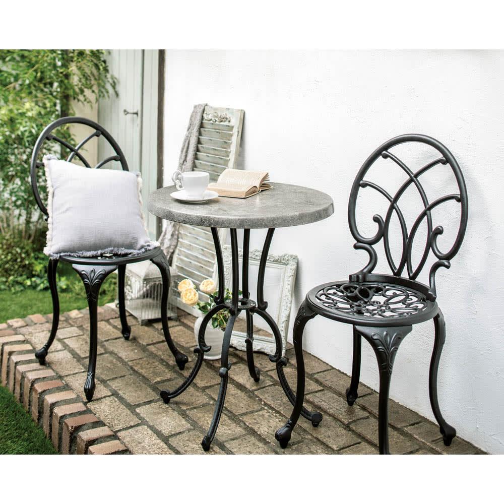 大理石調コンパクトテーブル (イ)ブラック お届けはテーブル単品です。