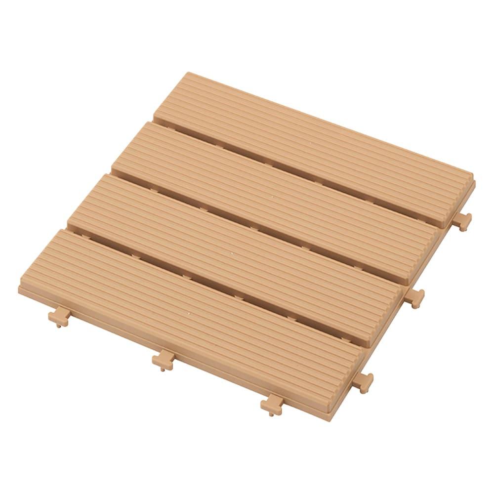 ベランダに!樹脂製マット木調ライン6枚 (ア)オークル(イエローベージュ)