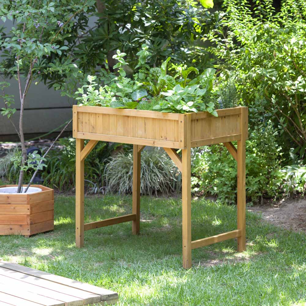 ハーブ用菜園プランター ベジトラグ 薄型(4コマ) (ア)ナチュラル 写真は大型タイプです。お届けは薄型です。