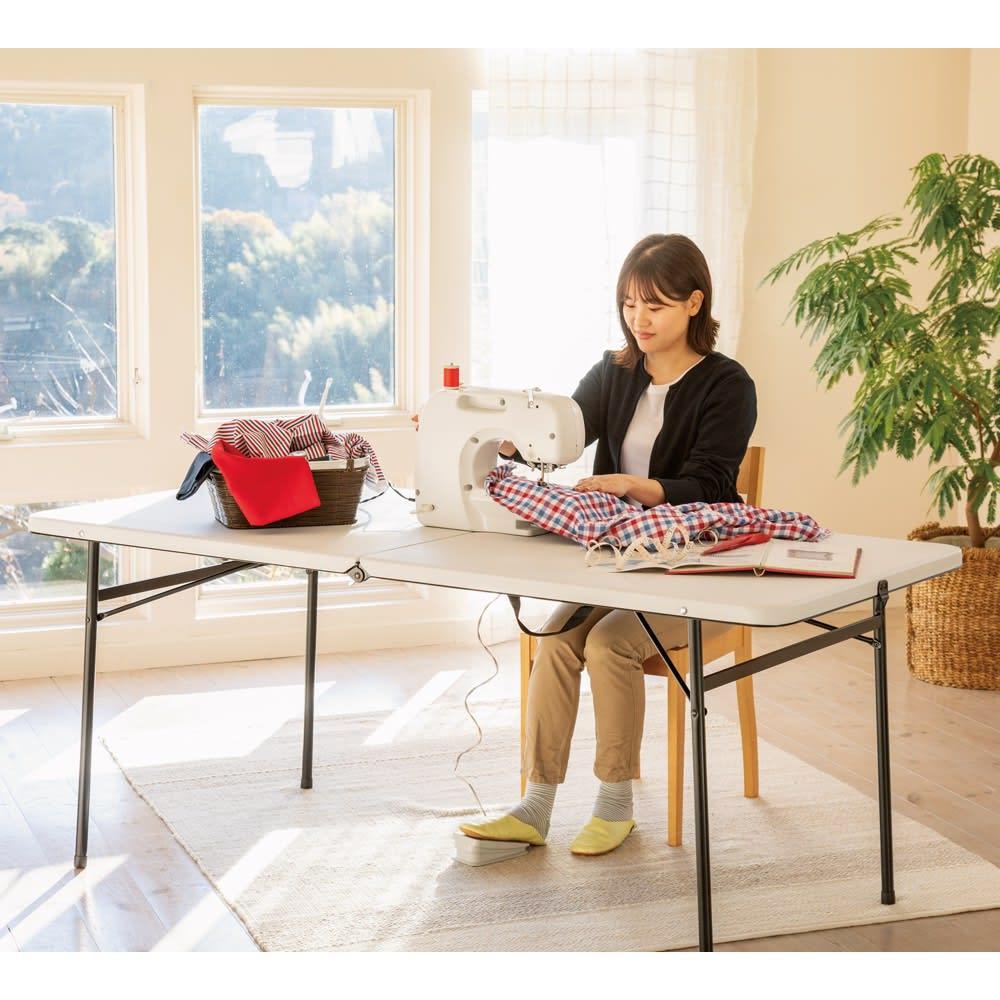 折りたたみ作業台シリーズ テーブル ホワイト 洋裁用テーブルにも。