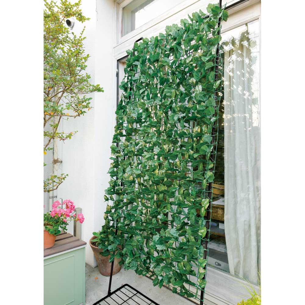 アイアングリーンカーテン プランター台付き お得な2枚組 フェイクグリーンを絡ませても
