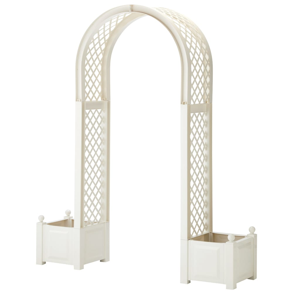 ドイツKHW社製 プランター付きアーチ ホワイト