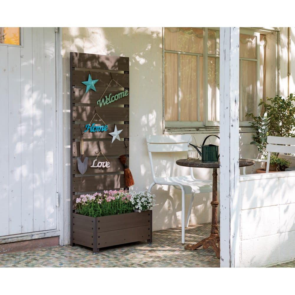 ハンギングできる人工木プランターボックス 高さ180 幅90 (イ)ブラウン ※色見本。お届けは高さ180幅90cmになります。