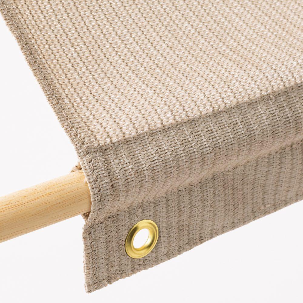 サマーオーニング タープ 約100×200cm 支柱や木棒を通して姿良くピンと張れます。