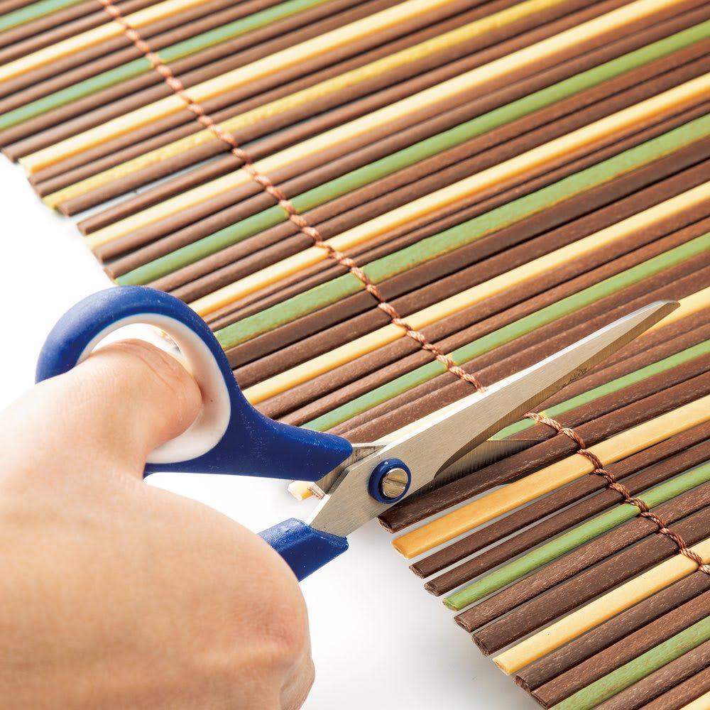 目隠し天然素材調すだれ 幅はハサミで簡単にカットしてサイズ調節可能。