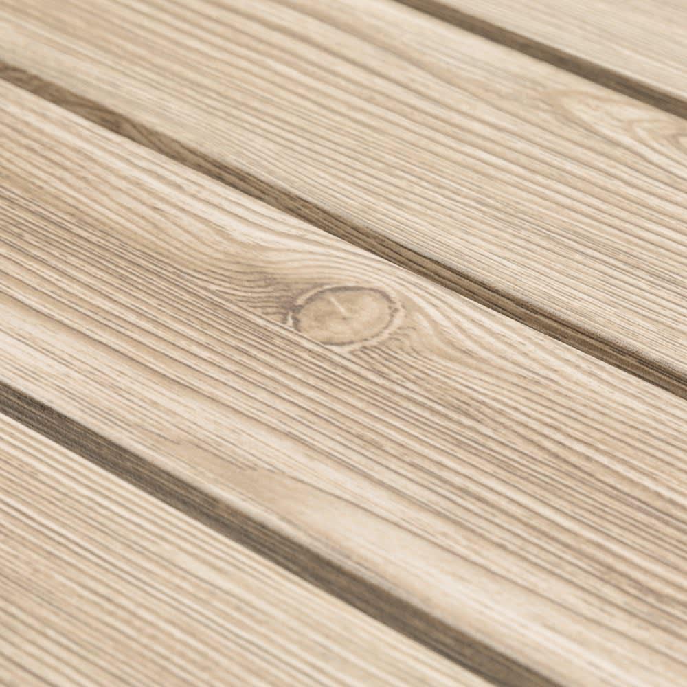 木目グレーアルミファニチャー 5点セット(長方形テーブル×1、チェア2脚組×2) 天然の木目をリアルに再現したアルミ製。
