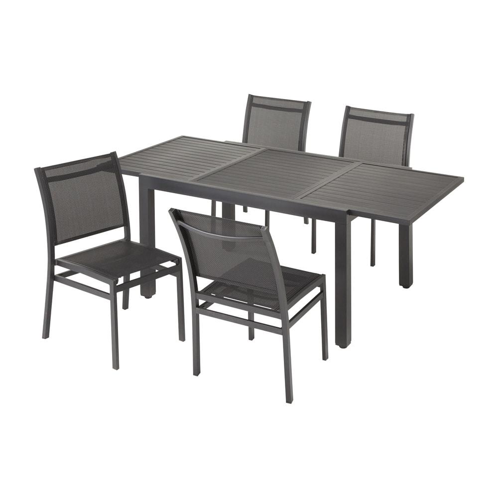 伸長式アルミテーブル&チェア 5点セット (ア)ブラック 5点セット