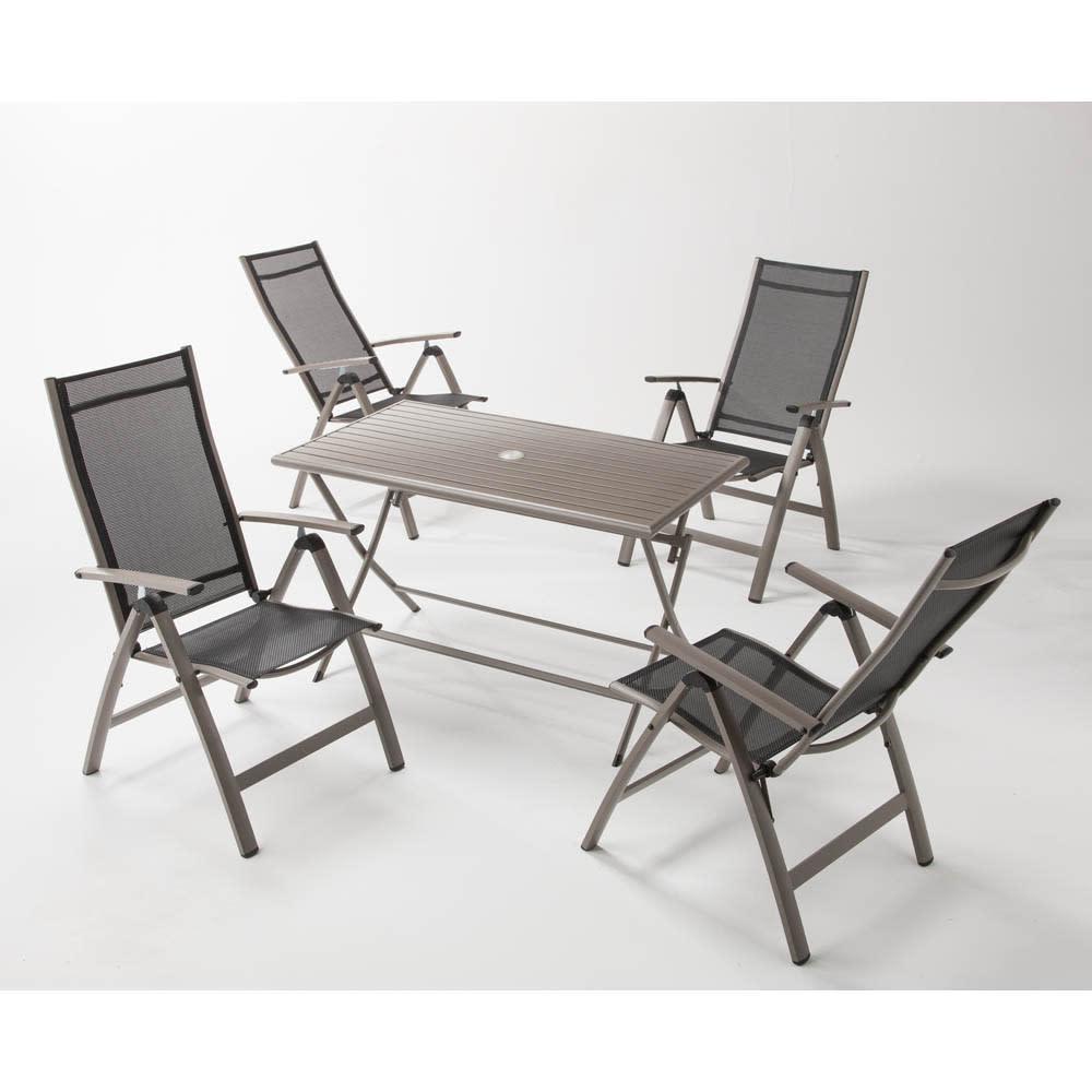 アーバンガーデン テーブル&チェア 長方形 5点セット お届けは、長方形テーブル+チェア4脚の5点セットです。