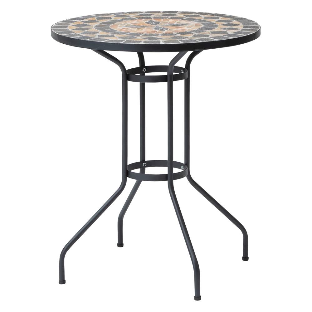 モザイクテーブル&チェア 3点セット(テーブル径60+アームチェアクッション付き2脚組)