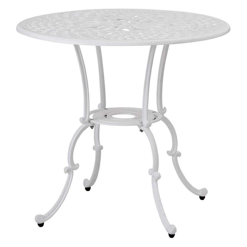 ホワイトクラシカル3点セット(テーブル×1、チェア2脚組) テーブル:径80.5高さ72.5cm パラソルホール:径約4cm