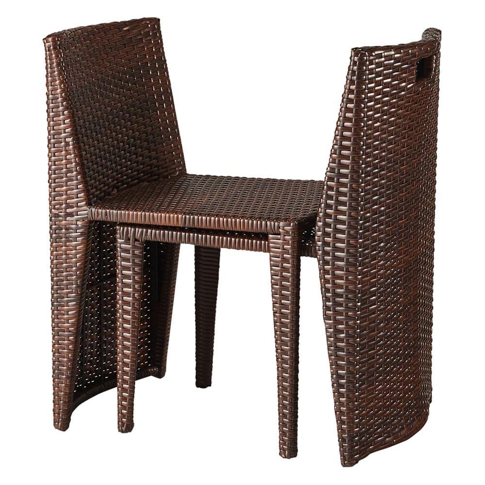 ラタン調コンパクトシリーズ〈ライトグレー〉 テーブル&チェア3点セット テーブル&チェア3点セット:椅子は重ねられる構造です。※画像はウィッカーの色が異なります。お届けはグレーです。