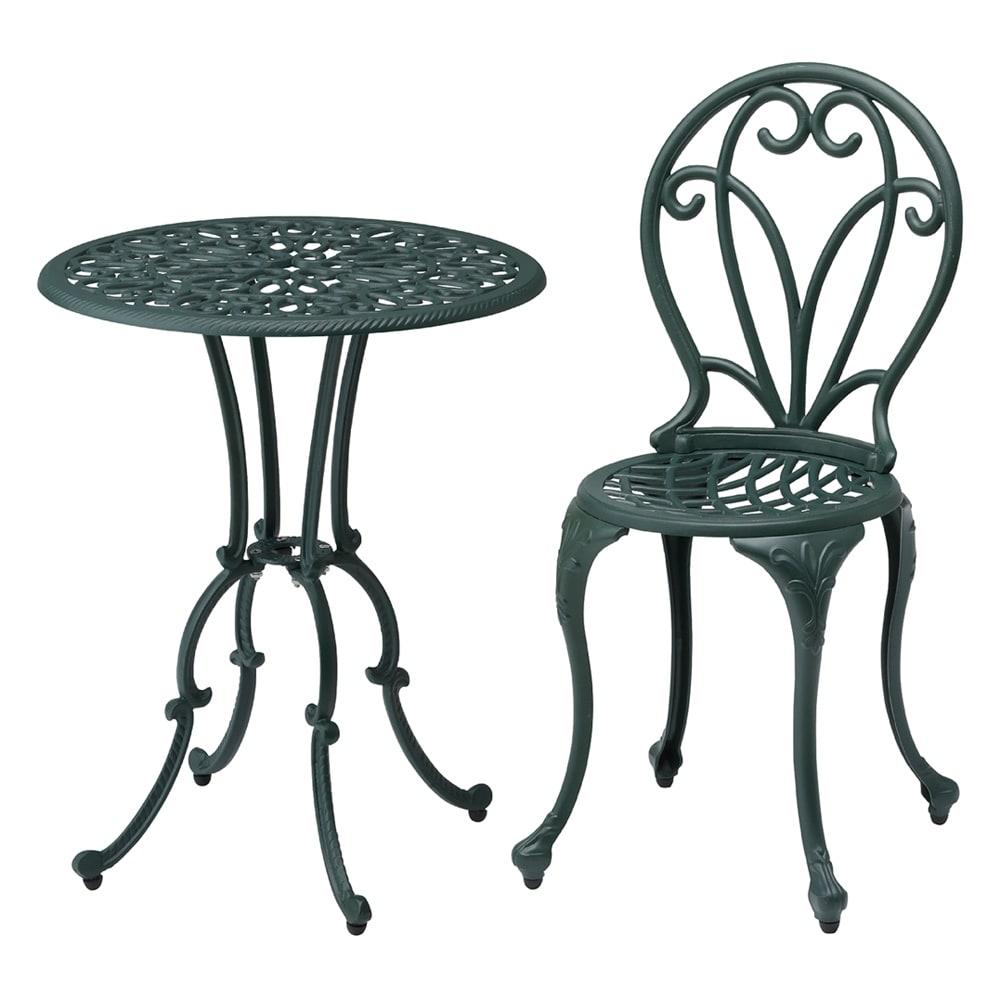 グリーンアルミ鋳物3点セット(テーブル×1、チェア×2) コンパクトサイズにナチュラルなリーフモチーフ。狭いスペースでも伝統的なイングリッシュガーデン雰囲気が楽のしめます。