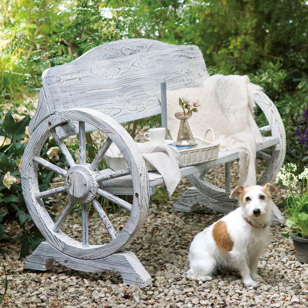 車輪デザインベンチ 幅65cm (イ)ホワイトウォッシュ ※写真は幅110cmタイプです。