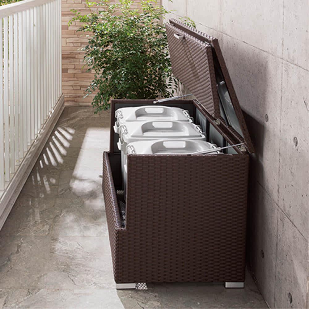 組立不要 ラタン調ゴミ保管庫 幅130cm ペール4個付き