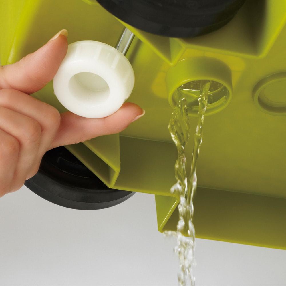 キャスター付きダストボックス 70L d.排水栓付きで水洗いがラク。