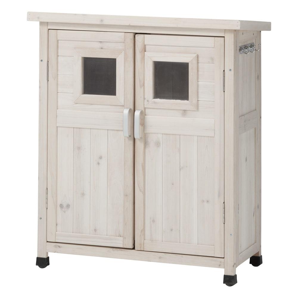 木製薄型収納庫 高さ92cm (ア)ホワイトウォッシュ