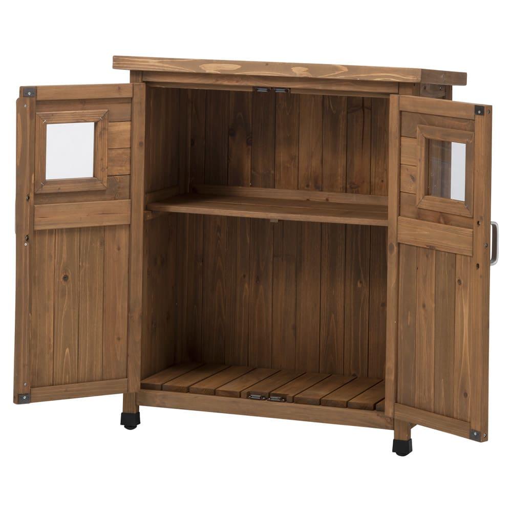 木製薄型収納庫 高さ92cm (イ)ブラウン