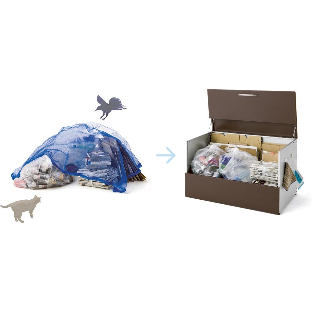 ガルバ製ゴミ保管庫 スリムタイプ 幅100奥行37cmペール付き フタ付きの保管庫なら、ゴミをすっきりと隠せて風で乱れるのを防ぐことができ、さらにカラスやネコ対策もできて、まさに一石二鳥です。 写真は奥行55cmタイプ。