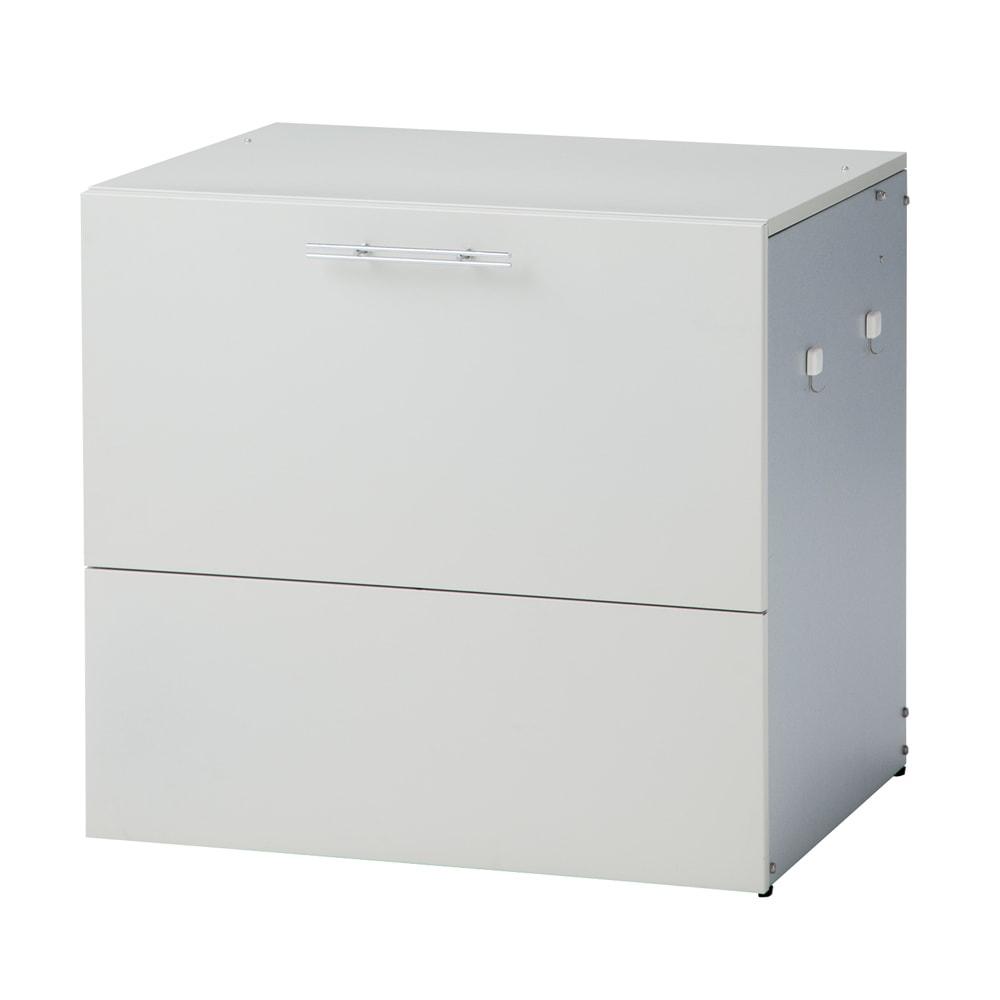 ガルバ製ゴミ保管庫 レギュラータイプ 幅69奥行55cmペール付き (イ)ホワイト