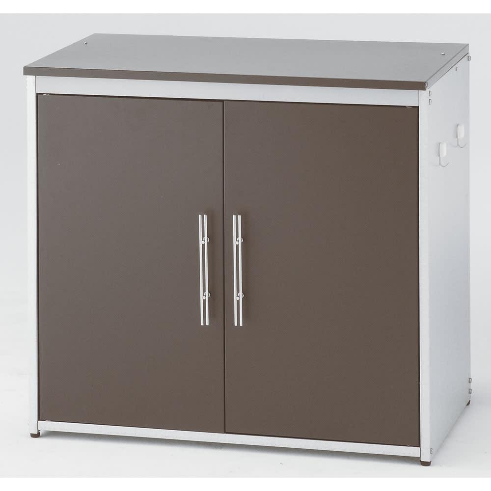 ガルバ製2面開閉ダスト収納庫 ※写真は幅74.5cmタイプです。