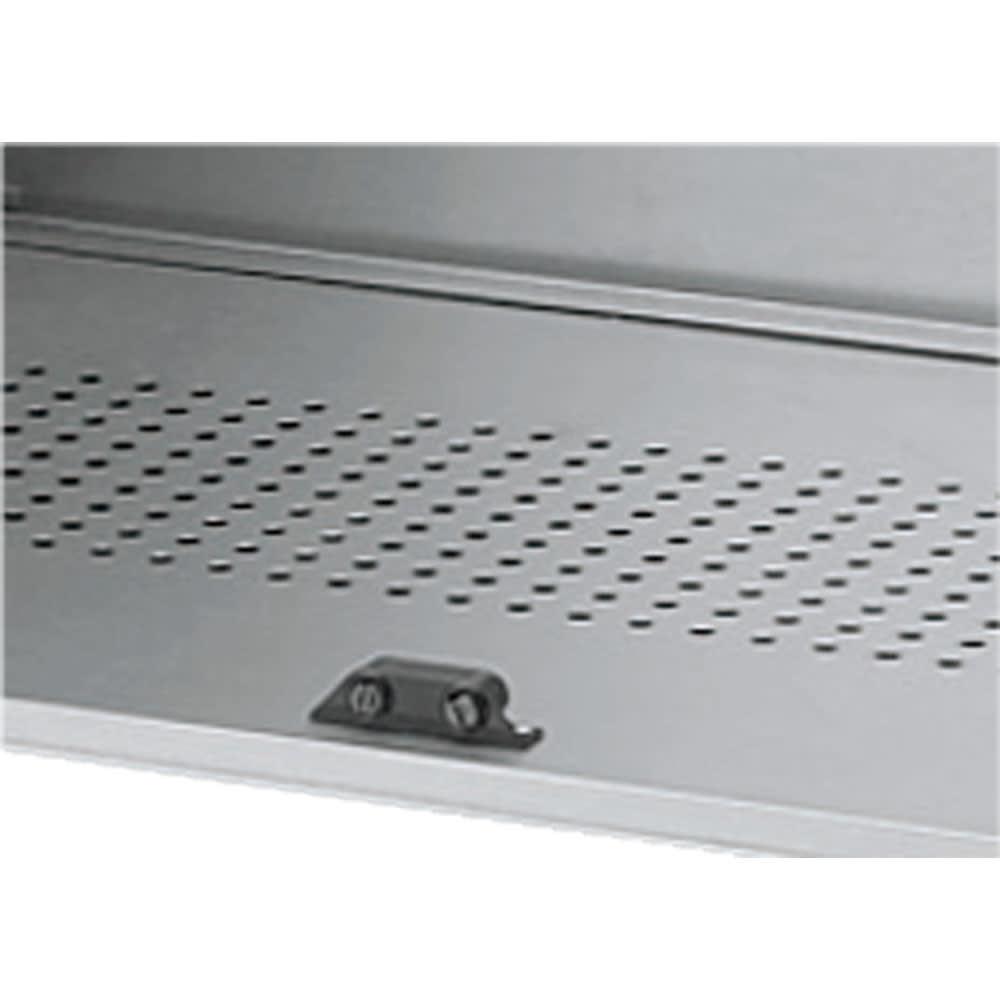 ガルバ製2面開閉ダスト収納庫 底板は水はけの良いパンチングメッシュ。