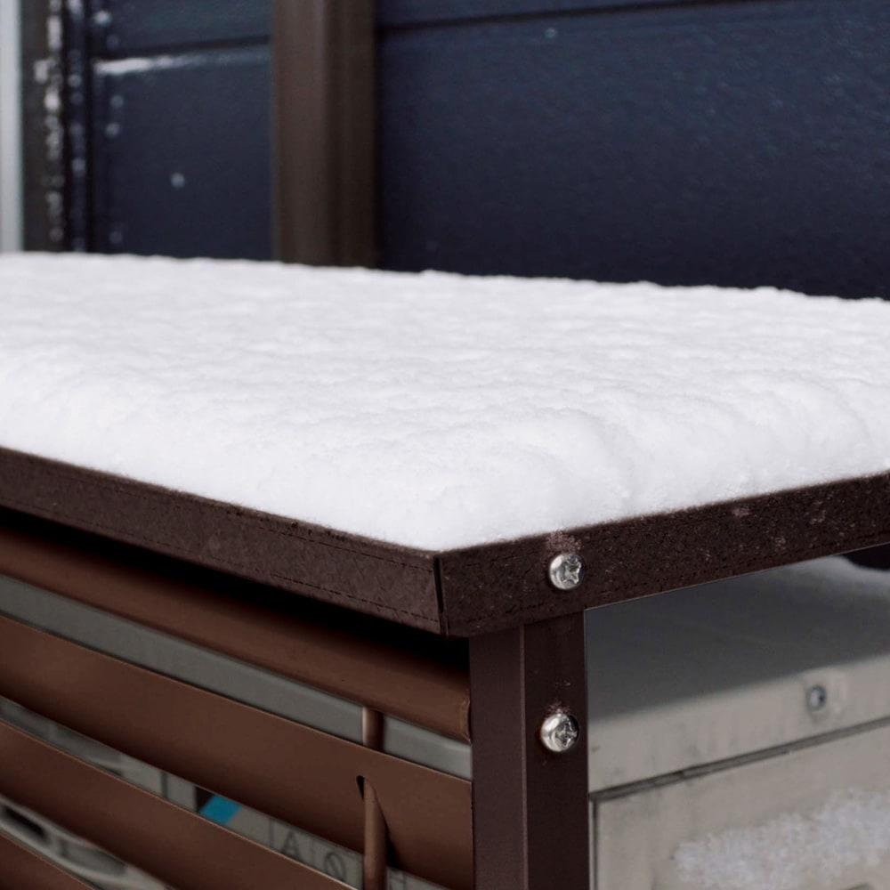 ボンデ鋼板逆ルーバー室外機カバー1段 冬場は積雪から室外機をガード。