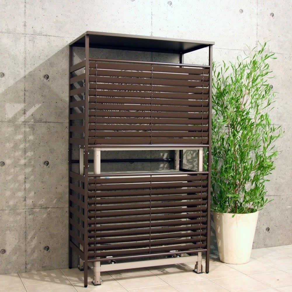 ボンデ鋼板逆ルーバー室外機カバー 2段用 住宅の外観にもマッチするダークブラウン色。