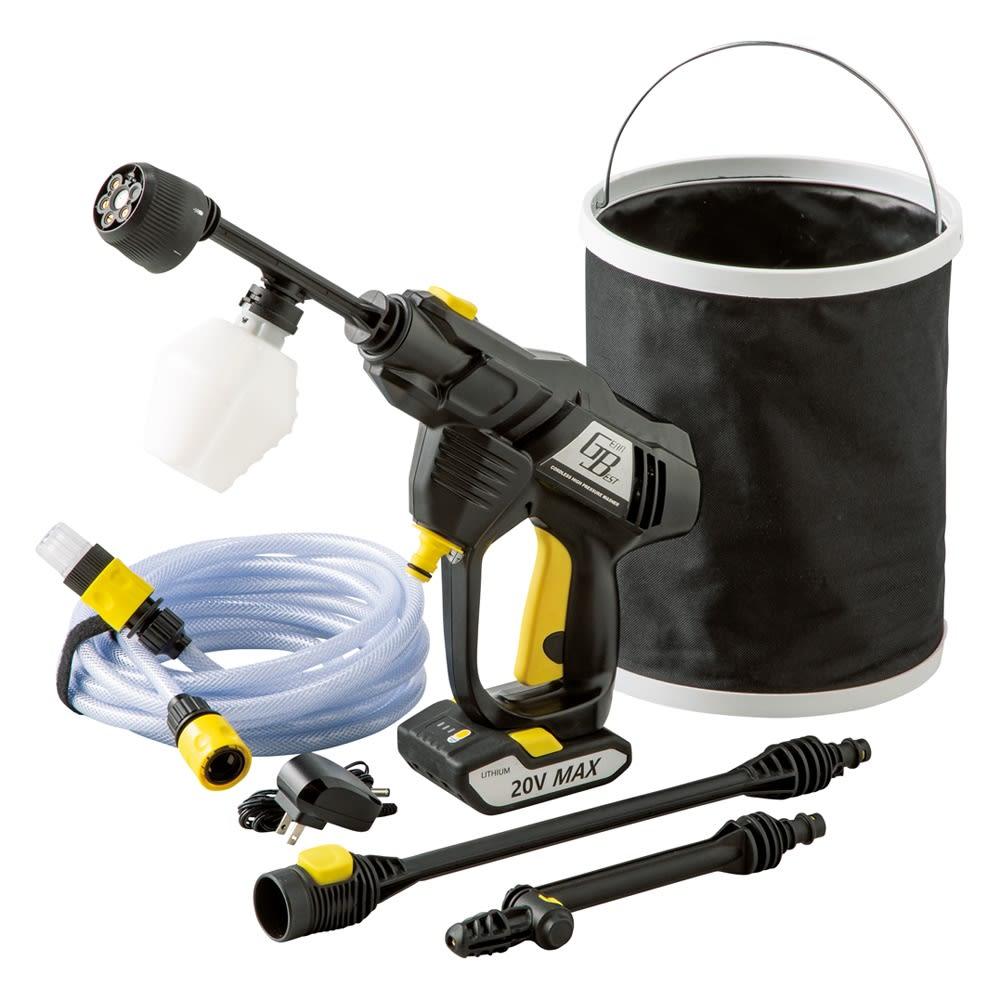 ノズル充実!どこでも水圧洗浄散水機 付属品。ノズルの長さは2段階に調節可能です。
