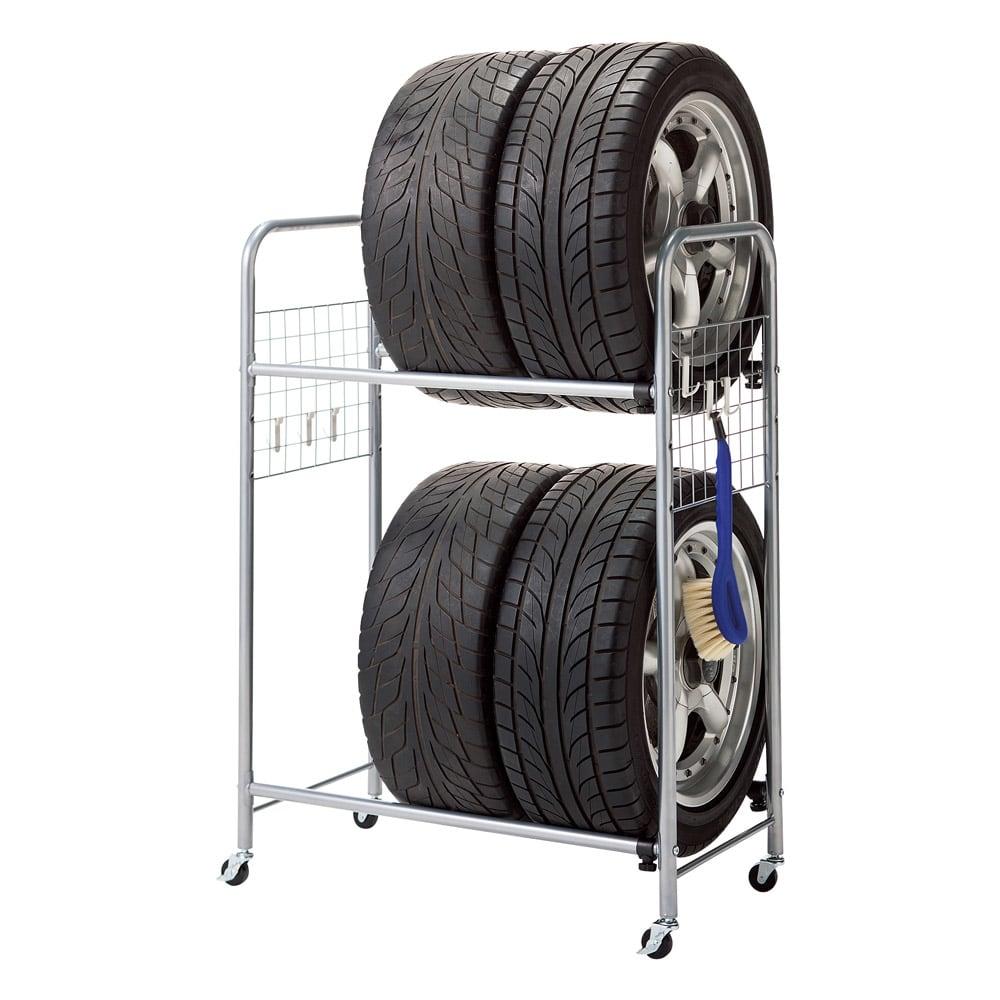 伸縮式タイヤラック カバー付き (ア)シルバー 縮小時