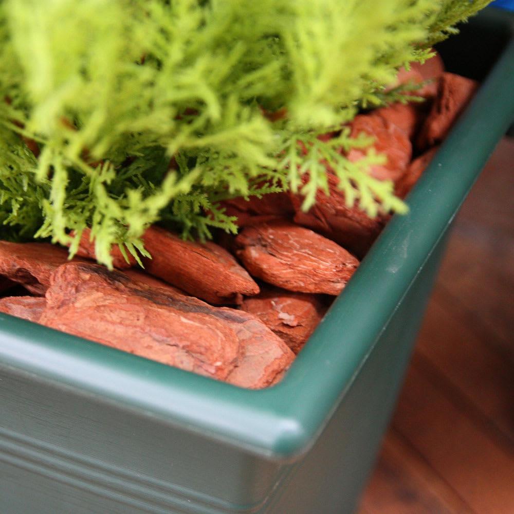 高さ90cm(人工観葉植物ゴールドクレスト) プランター内部に配した天然木バークで雰囲気たっぷり。