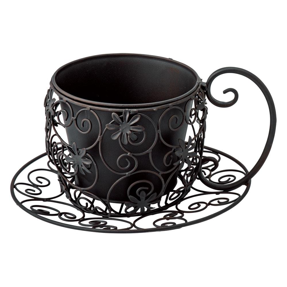 ティーカップ型プランターカバー (ア)ブラック