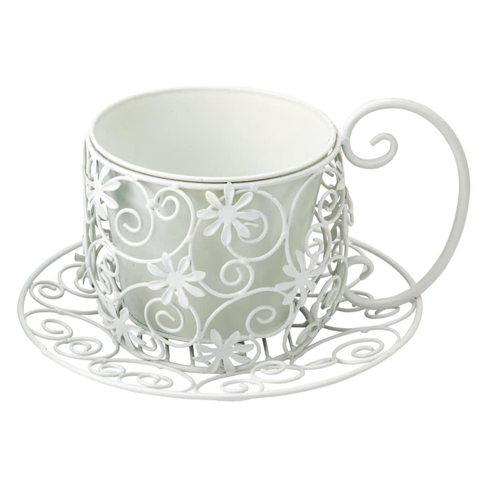 ティーカップ型プランターカバー (イ)ホワイト