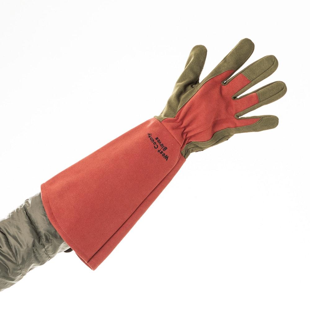 洗える! ロングローズ手袋 (ア)ルビー ダウンなど太い袖周りもカバーして棘からガード。