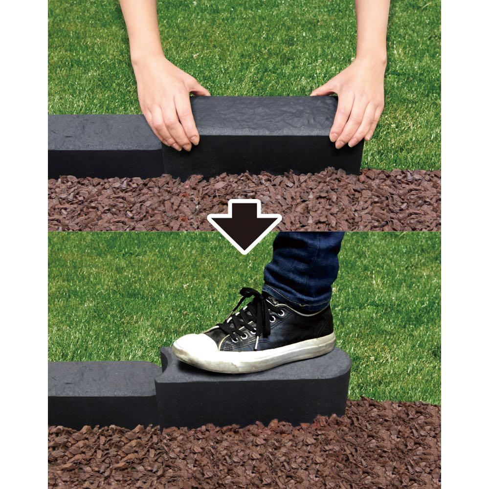 カナダ製簡単エッジング6個組(180cm分) 設置してゴムハンマーで埋め、踏み込むだけ。