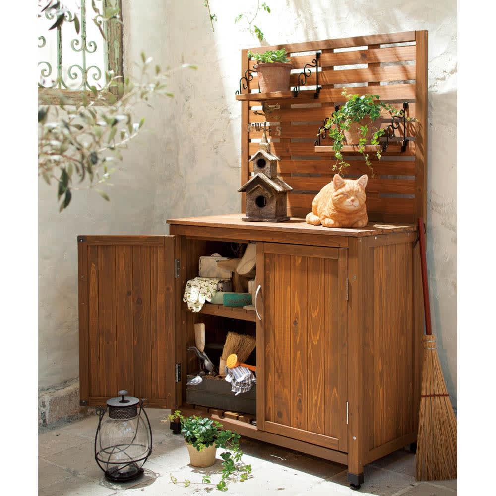 木製棚付き収納庫幅80cm ブラウン/アンティークホワイト 収納庫・物置