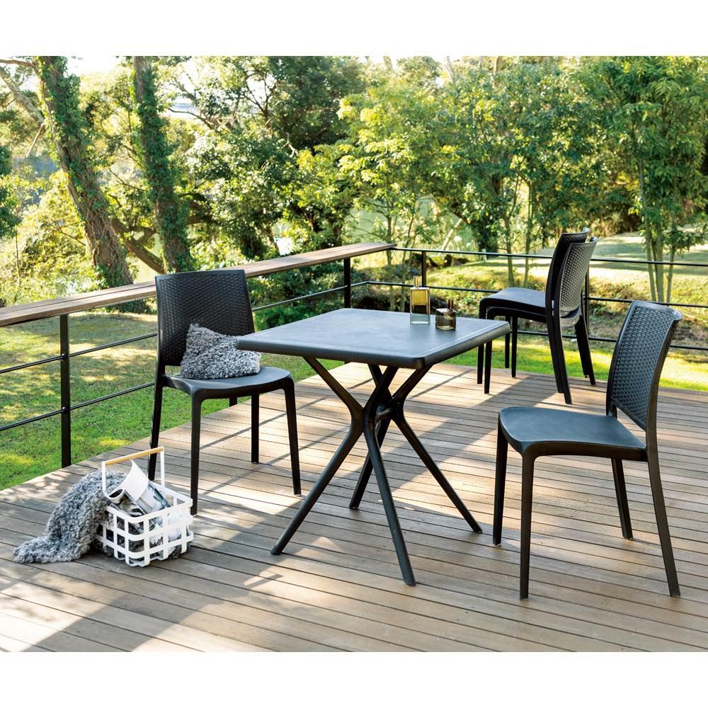 コントラクトテーブル&チェア2脚組 3点セット ホワイト ガーデンファニチャーセット