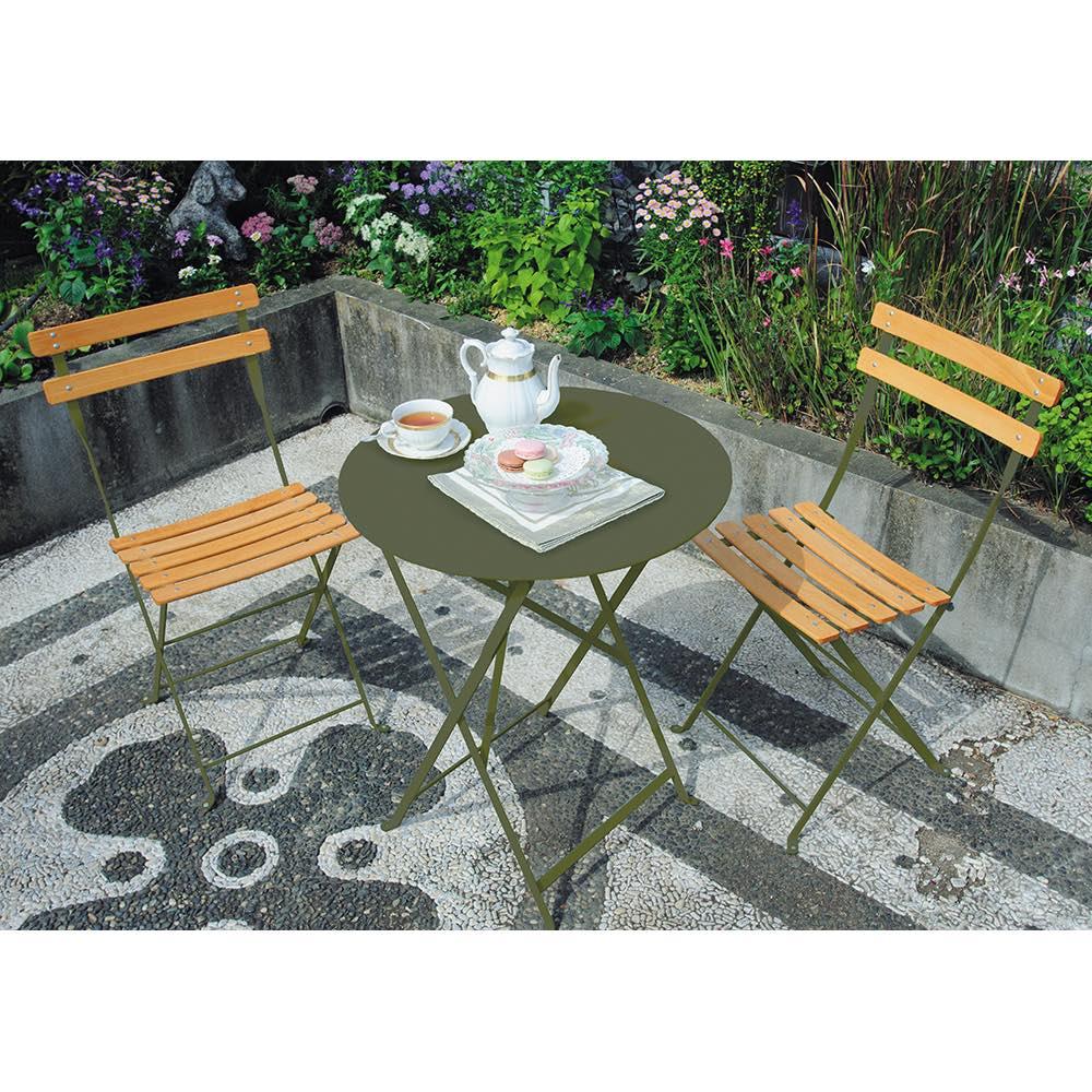 フランス製ビストロシリーズ オリジナルカラー テーブル&チェア 3点セット ガーデンファニチャーセット