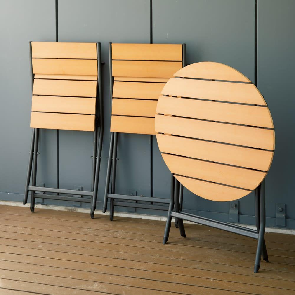 折りたたみ人工木3点セット(テーブル×1、チェア×2) ガーデンファニチャーセット
