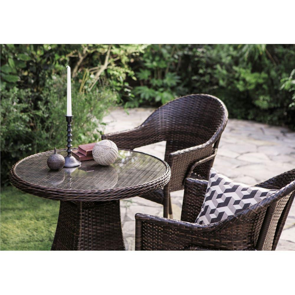 ガラス&ウィッカーシリーズ ラウンド小 3点セット(ラウンドテーブル小+チェア2脚) ガーデンファニチャーセット