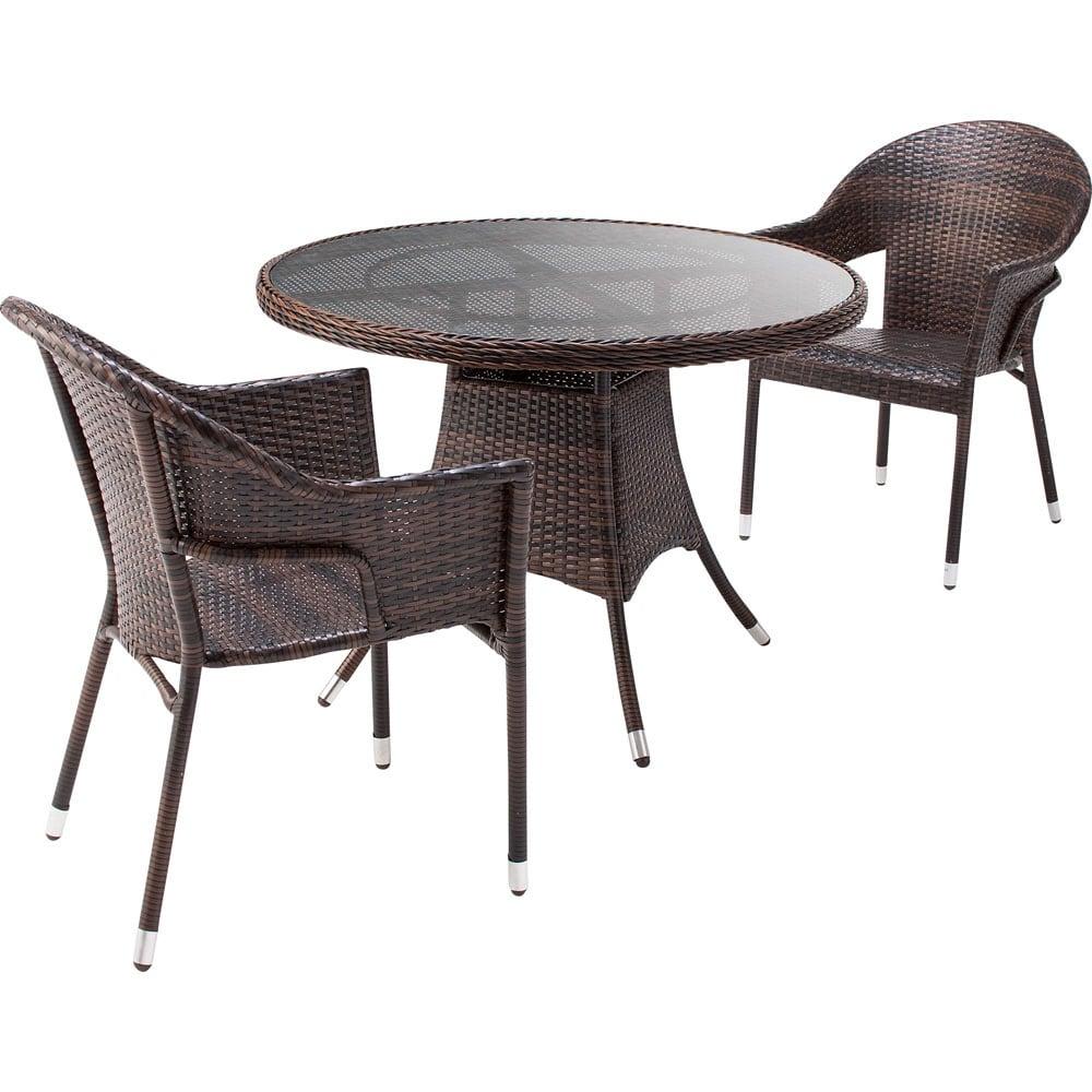ガラス&ウィッカーシリーズ ラウンド大 3点セット(ラウンド大テーブル+チェア2脚) ガーデンファニチャーセット
