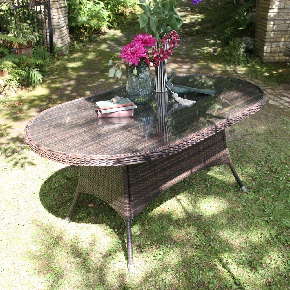 ガーデニング フラワー ガーデニング用品 エクステリア ガーデンテーブル ガラス&ウィッカーシリーズ オーバルテーブル G92407