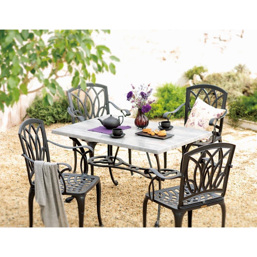 g-STYLEテーブル&チェア コンクリート調5点セット ブラック ガーデンファニチャーセット