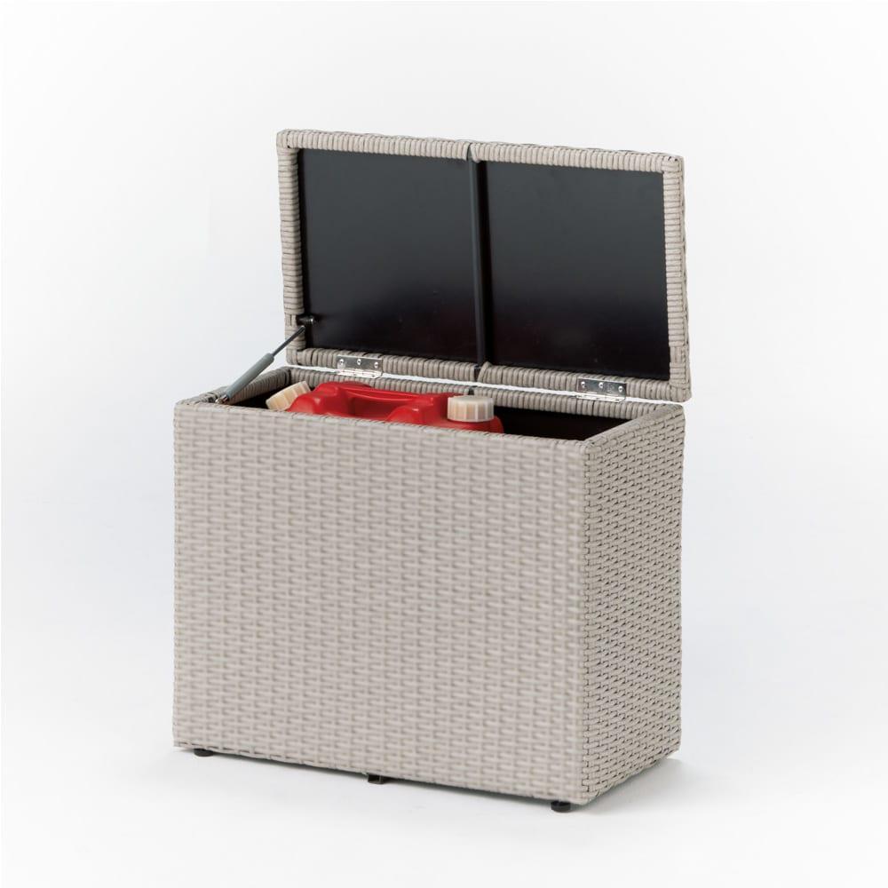 ラタン調コンパクトシリーズ〈ライトグレー〉 薄型ベンチ幅60 ライトグレー 収納庫・物置