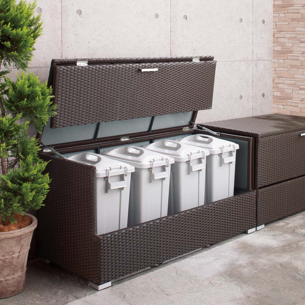 組立不要 ラタン調ゴミ保管庫 幅130cm ペール4個付き ゴミ箱・ゴミ保管庫